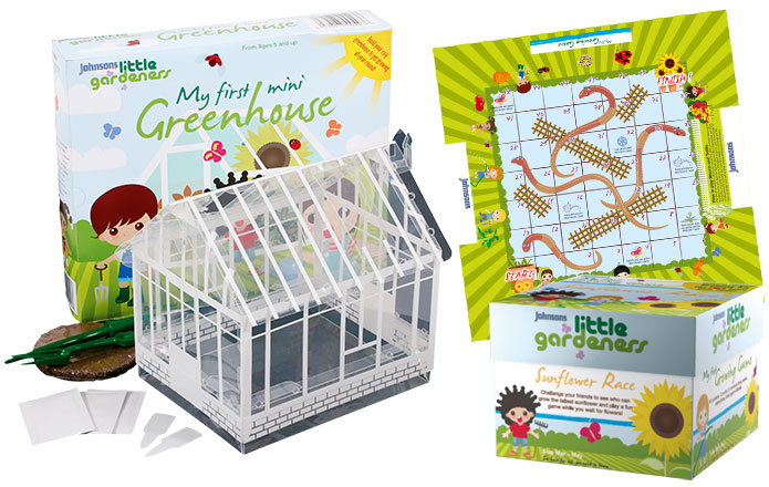 Little Gardeners Mini Greenhouse and Sunflower race board game by Johnsons