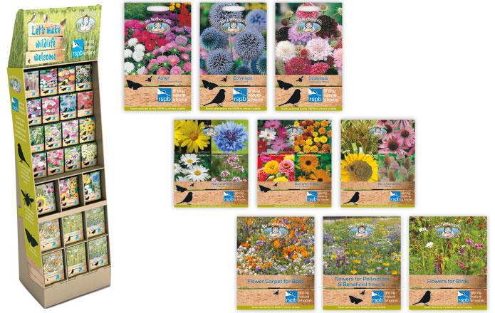 RSPB promotion display stand, Seed Packets, Collection packets and Seed Shaker Boxes by Mr Fothergills Seeds