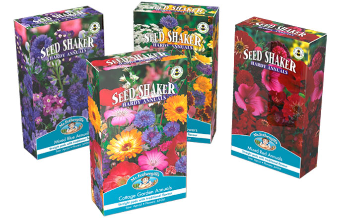 Seed Shaker Boxes in 4 mixed flower colourways by Mr Fothergill's Seeds